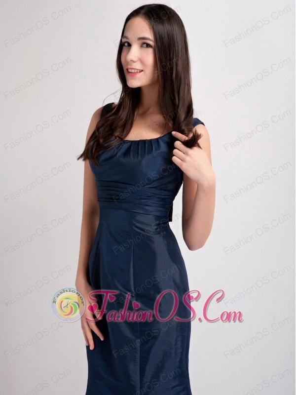 Elegant Navy Blue Mermaid Scoop Bridesmaid Dress Taffeta Ruch Floor-length