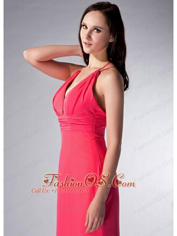 Exquisite Coral Red Cloumn V-neck Bridesmaid Dress Brush Train Chiffon