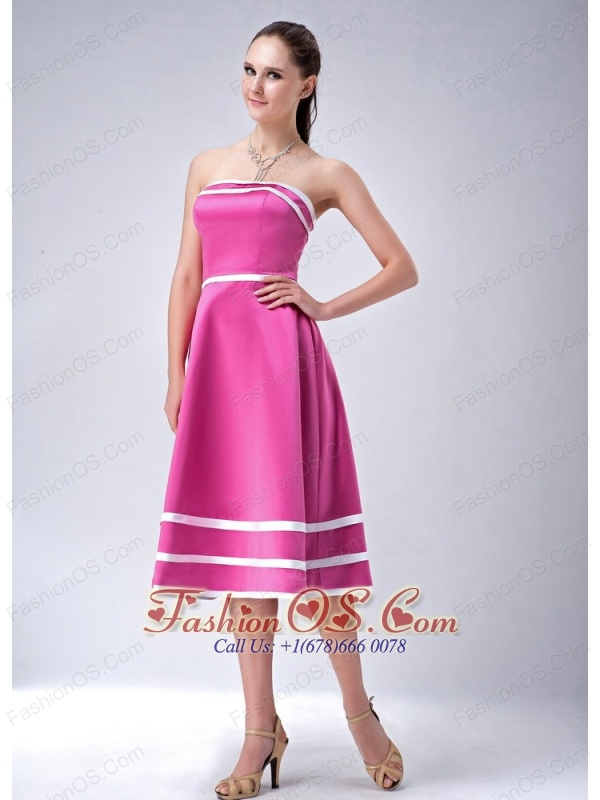 Hot Pink and White A-line / Princess Strapless Bridesmaid Dress Satin Tea-length