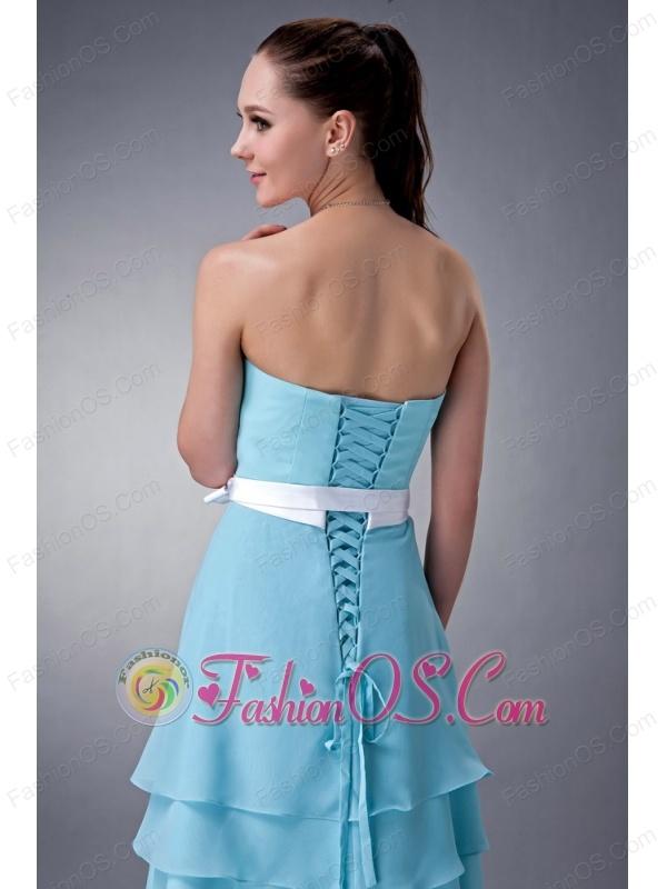 Aqua Blue Empire Strapless Bridesmaid Dress Chiffon Sash Knee-length
