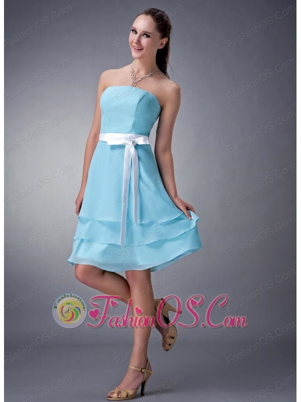 Aqua Blue Empire Strapless Bridesmaid Dress Chiffon Sash Knee-length