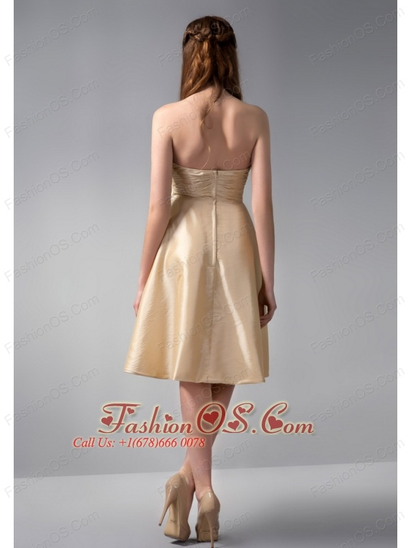Modest Gold Empire Strapless Ruch Bridesmaid Dress Knee-length Elastic Woven Satin