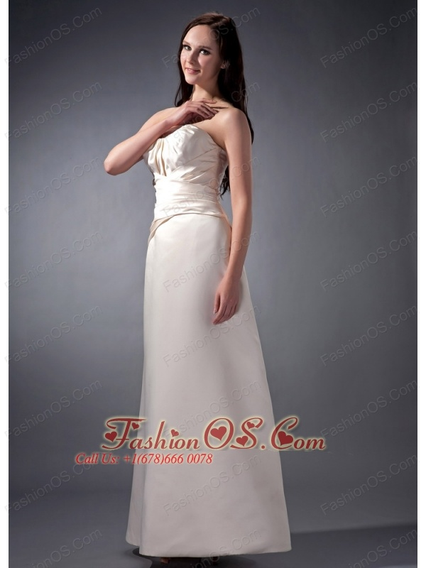 New Off White Cloumn Strapless Bridesmaid Dress Satin Ruch Ankle-length