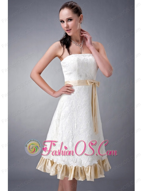 Perfect White and Champagne A-line / Princess Strapless Bridesmaid Dress Lace Sash Tea-length