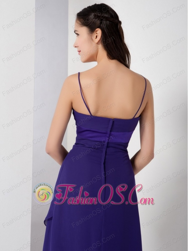 Pretty Purple High-low Bridesmaid Dress with Spaghetti Straps
