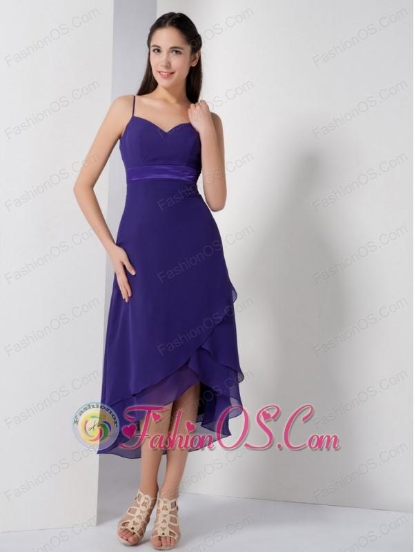 Pretty Purple High-low Bridesmaid Dress with Spaghetti Straps- $99.99