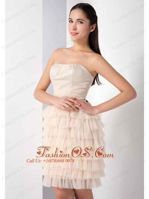 The Super Hot Champagne Column Strapless Bridesmaid Dress Ruffled Layers Mini-length Taffeta and Tulle