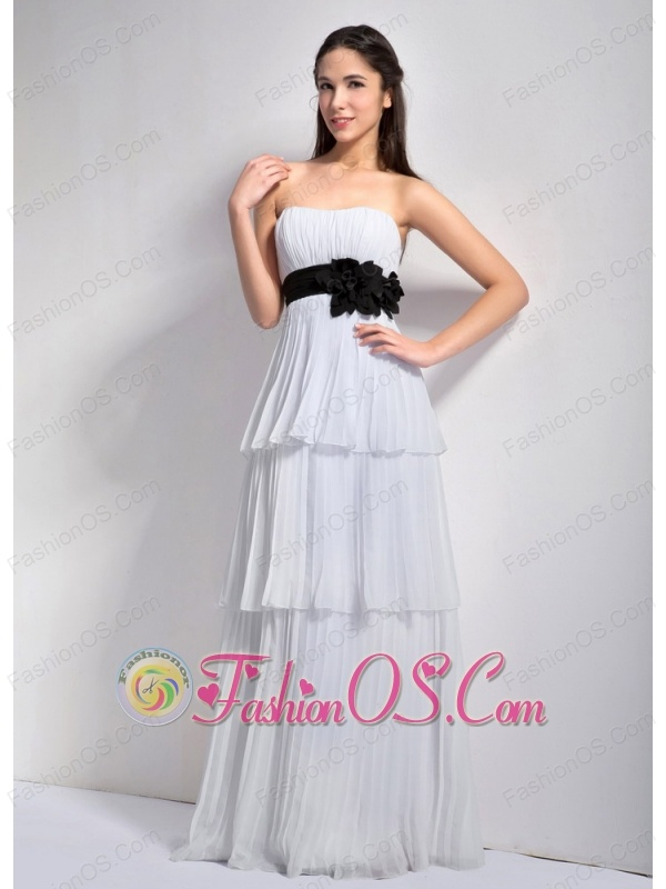 Wonderful White Empire Strapless Hand Made Flower Bridesmaid Dress Floor-length Chiffon