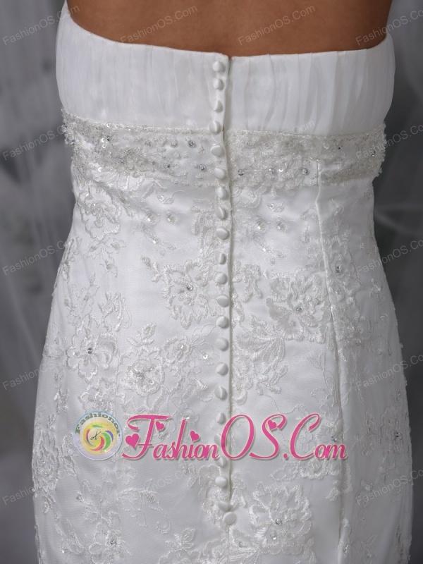 Beautiful Mermaid Strapless Lace Wedding Dress Chiffon Ruch Court Train