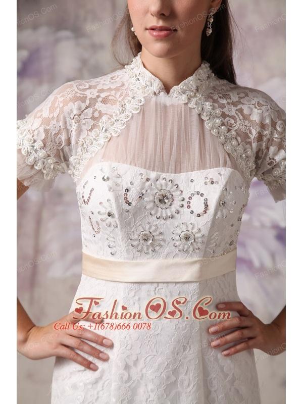 Cheap Mermaid High Neck Lace Wedding Dress Beading Court Train