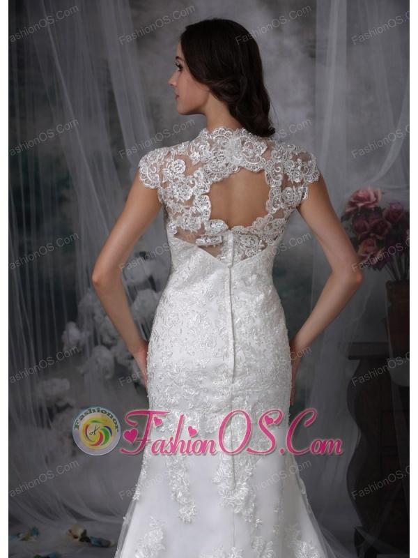Custom Made Column Wedding Dress V-neck Lace Brush Train