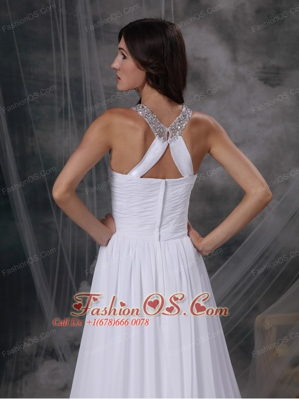 Custom Made Empire Scoop Wedding Dress Chiffon Beading and Ruch Court Train