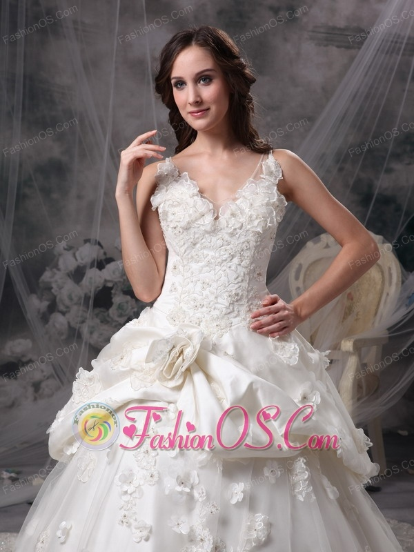 Custom Made Ivory Wedding Dress Princess V-neck Taffeta Lace and Hand Made Flowers Cathedral Train
