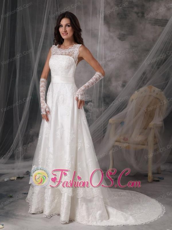 Custom Made Scoop A-Line / Princess Wedding Dress Taffeta Lace Court Train