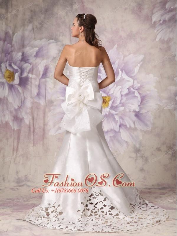 Custom Made Wedding Dress Mermaid Sweetheart  Elastic Woven Satin Beading Court Train