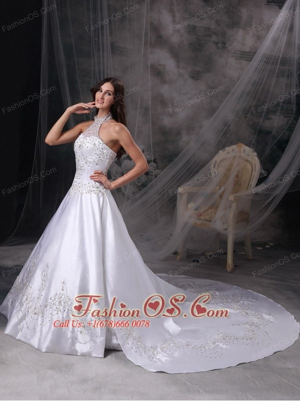 Custom Made White A-line Wedding Dress Halter  Satin Embroidery and Beading Cathedral Train