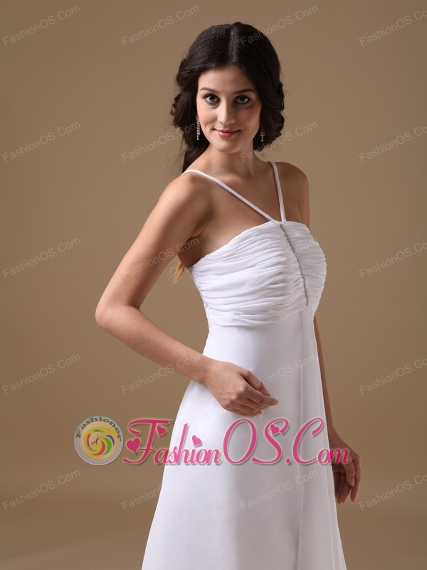 Custom Made White Empire Beach Wedding Dress V-neck Chiffon Ruch High-low
