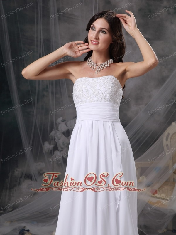 Custom Made White Empire Strapless Beach Wedding Dress Chiffon Appliques and Ruch  Court Train