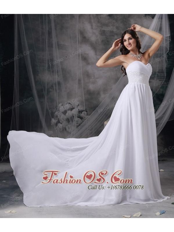 Custom Made White Empire Sweetheart Beach Wedding Dress Chiffon Appliques and Ruch Court Train