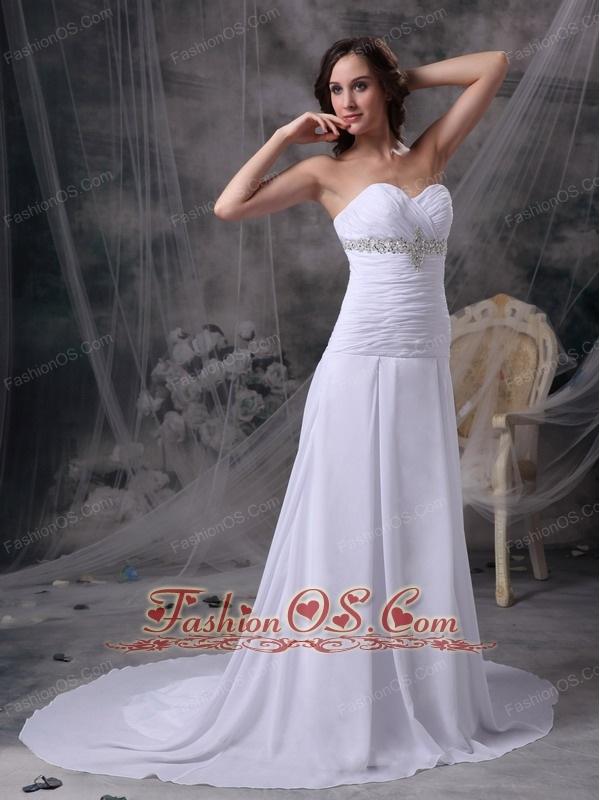 Custom Made White Princess Beach Wedding Dress Sweetheart Chiffon Appliques and Ruch Court Train