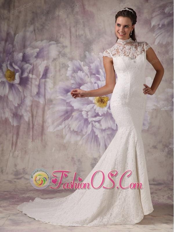 Customize Mermaid High Neck Lace Wedding Dress Beading Court Train