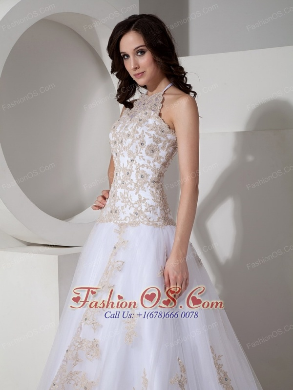 Customize Wedding Dress A-line Halter Tulle Lace Appliques Court Train
