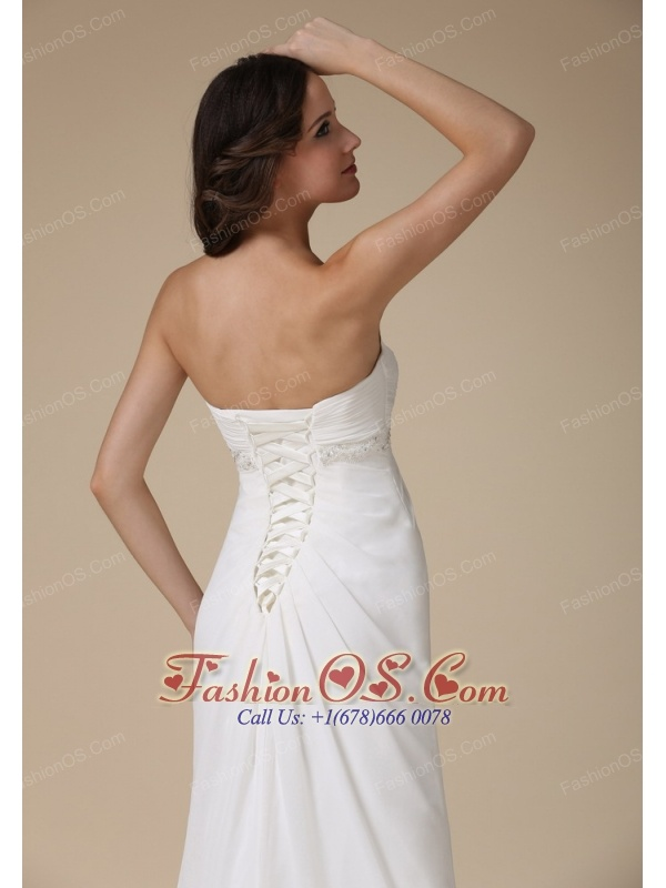 Elegant Empire Sweetheart Beach Wedding Dress Chiffon Beading Brush Train