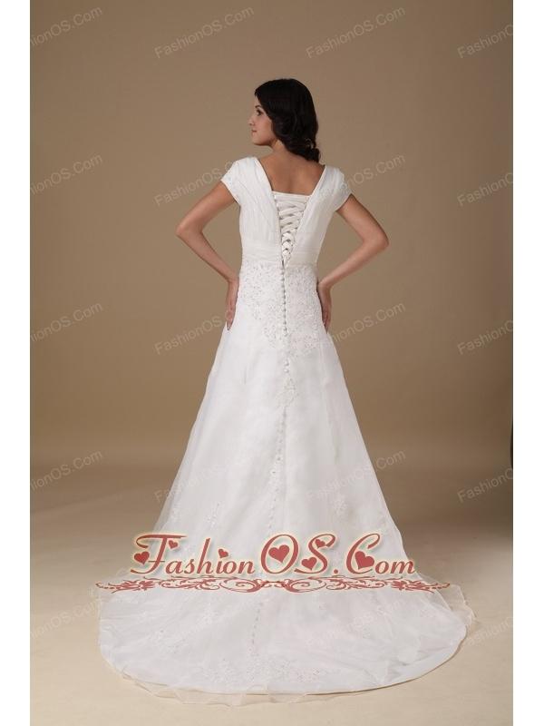 Modest A-line V-neck Wedding Dress Organza and Taffeta Appliques Court Train