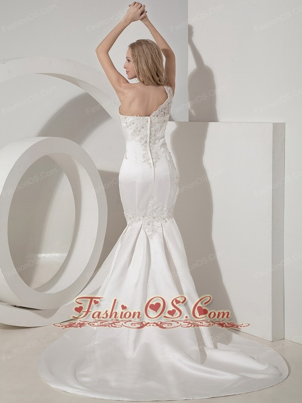 Sexy Mermaid One Shoulder Wedding Dress Satin Lace Chapel Train