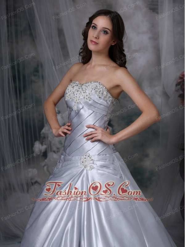 Silver A-line Wedding Dress Strapless Taffeta Beading and Ruch Court Train