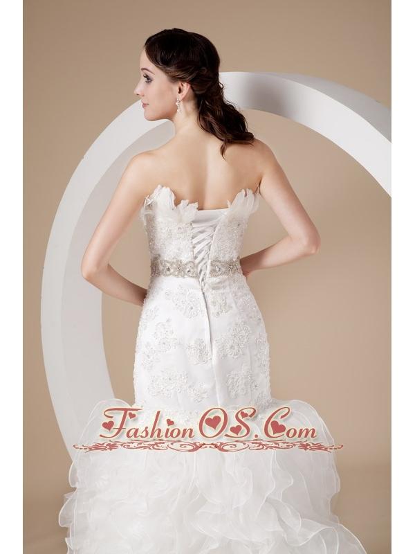 Beautiful Mermaid Strapless Wedding Dress Organza Beading and Appliques Court Train