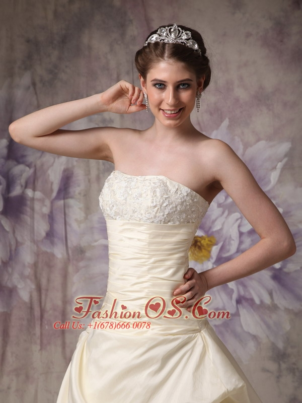 Champagne A-line Strapless Wedding Dress Taffeta and Lace Hand Made Flowers Brush Train