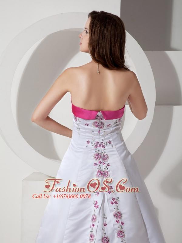 Custom Made A-line / Princess Strapless Wedding Dress Satin Embroidery Court Train