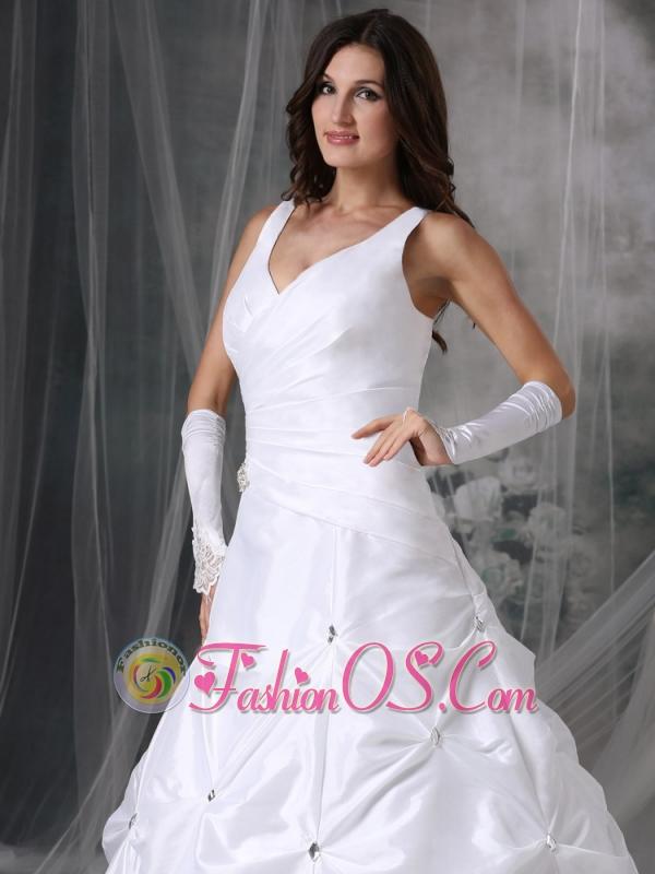 Custom Made A-line V-neck Wedding Dress Taffeta Beading Court Train