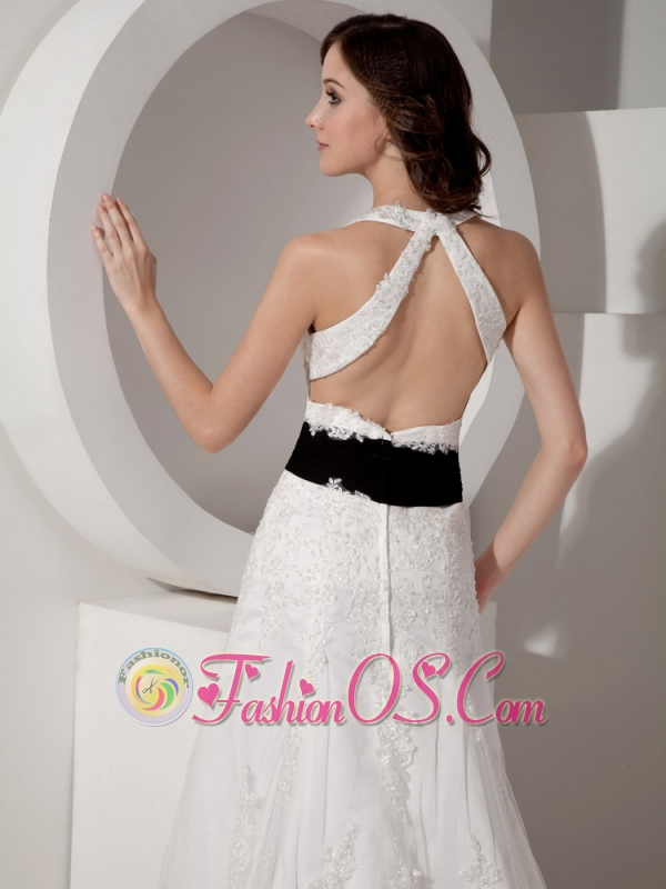 Customize A-line Halter Court Train Satin and Lace Appliques Wedding Dress