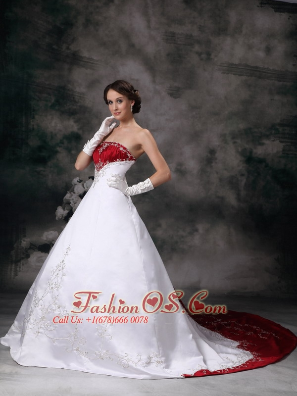 Customize A-line Strapless Wedding Dress Embroidery Satin Chapel Train