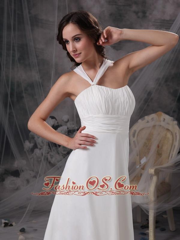 Customize Maternity Wedding Dress Empire Asymmetrical  Chiffon Ruch Court Train