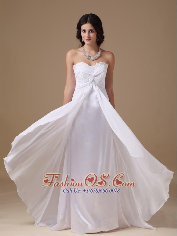Customize Maternity Wedding Dress Empire Sweetheart Chiffon Lace Brush Train