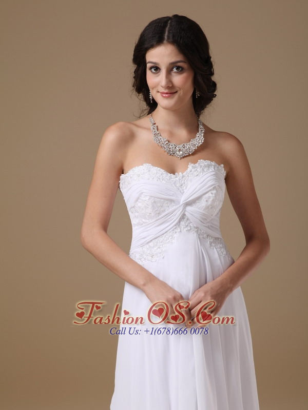 Customize Maternity Wedding Dress Empire Sweetheart Chiffon Lace Brush Train