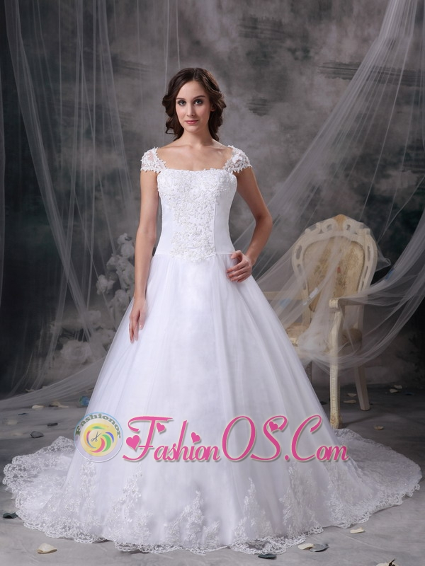 Customize Wedding Dress A-line Square Satin Lace  Court Train