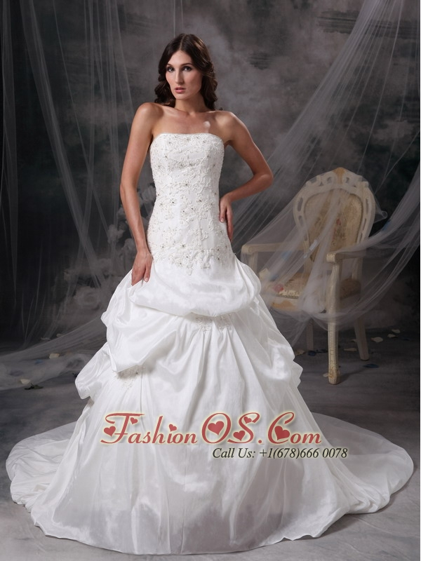Customize White A-line Strapless Wedding Dress Taffeta Appliques and Lace Court Train