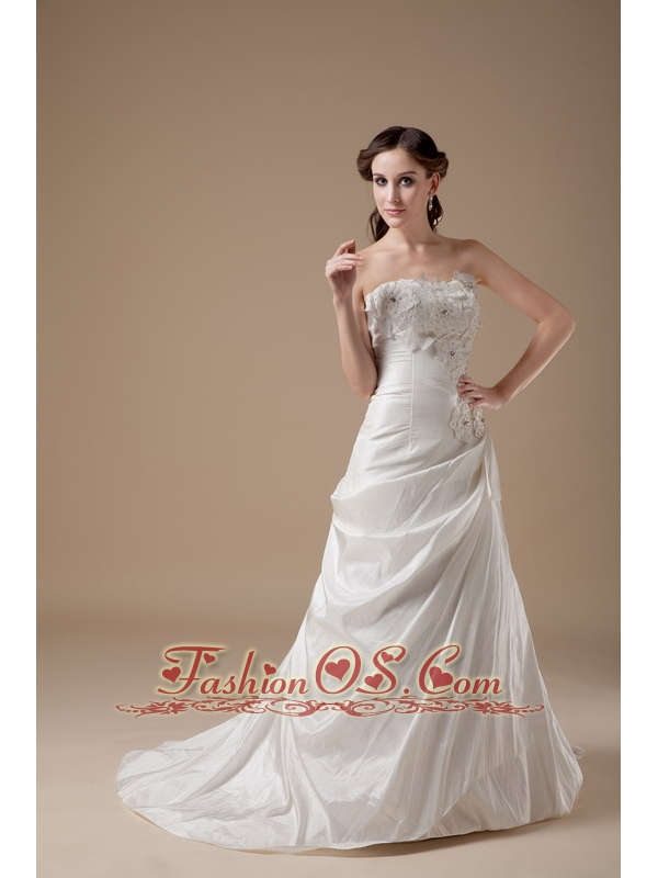 Elegant a line sweetheart low cost wedding dress taffeta for Low price wedding dresses