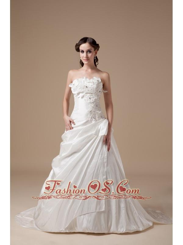 Elegant a line sweetheart low cost wedding dress taffeta for Low cost wedding dresses
