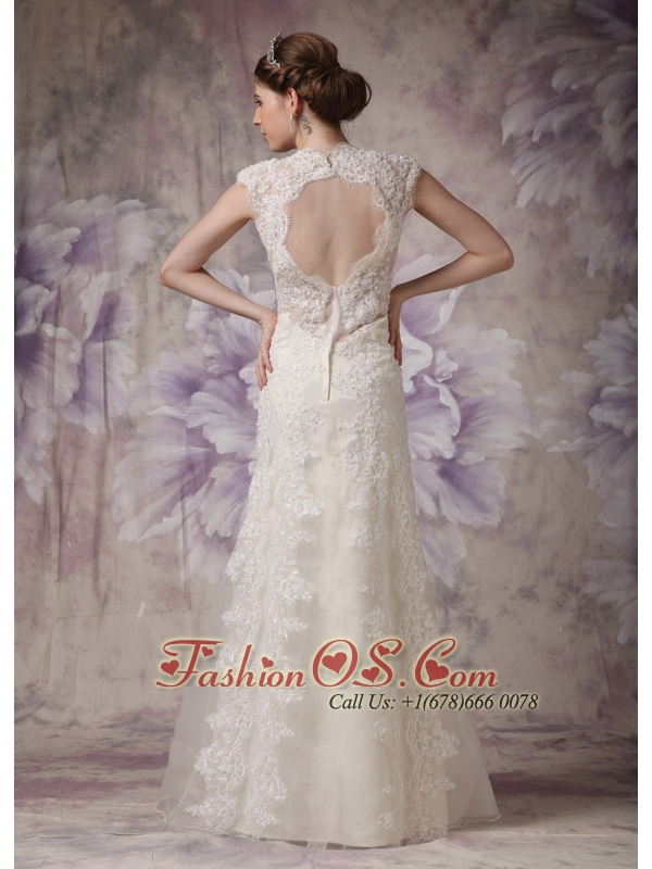 Exquisite Column Straps Lace Wedding Dress Bow Floor-length