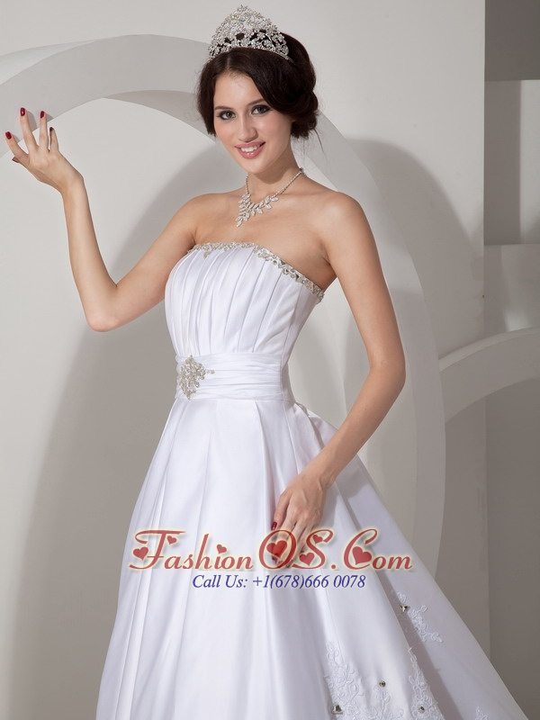 Lovely A-line Strapless Wedding Dress Taffeta Beading and Ruch Brush Train