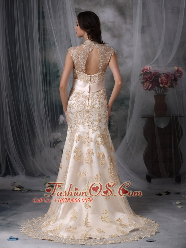 Pretty Wedding Dress Mermaid V-neck Satin and Lace Brush Train