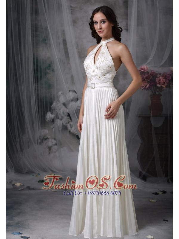 White A-line / Princess Wedding Dress High-neck Chiffon Appliques Floor-length