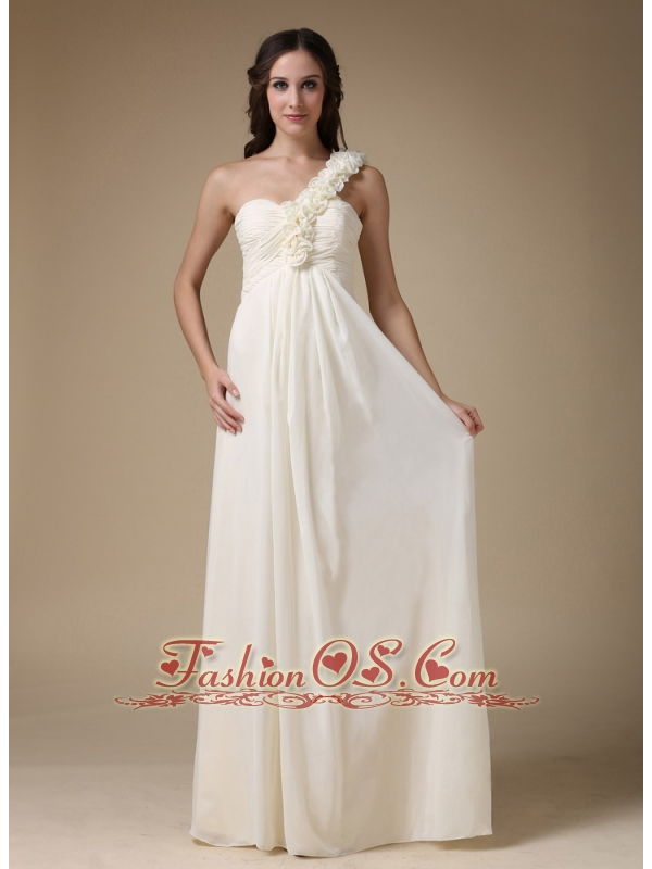White empire one shoulder low cost wedding dress chiffon for Wedding dresses low cost