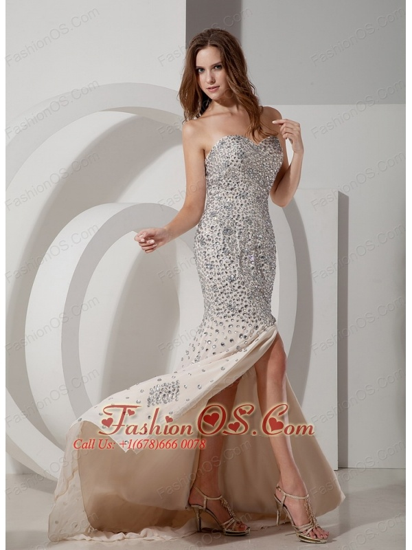 Beautiful Champagne Mermaid Sweetheart Evening Dress Chiffon Rhinestones Brush Train