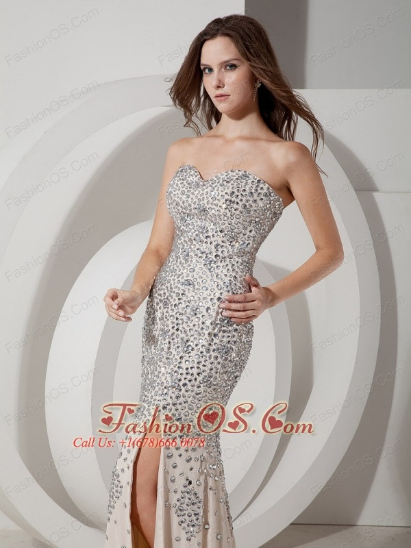 Beautiful Champagne Mermaid Sweetheart Evening Dress Chiffon Rhinestones Brush Train